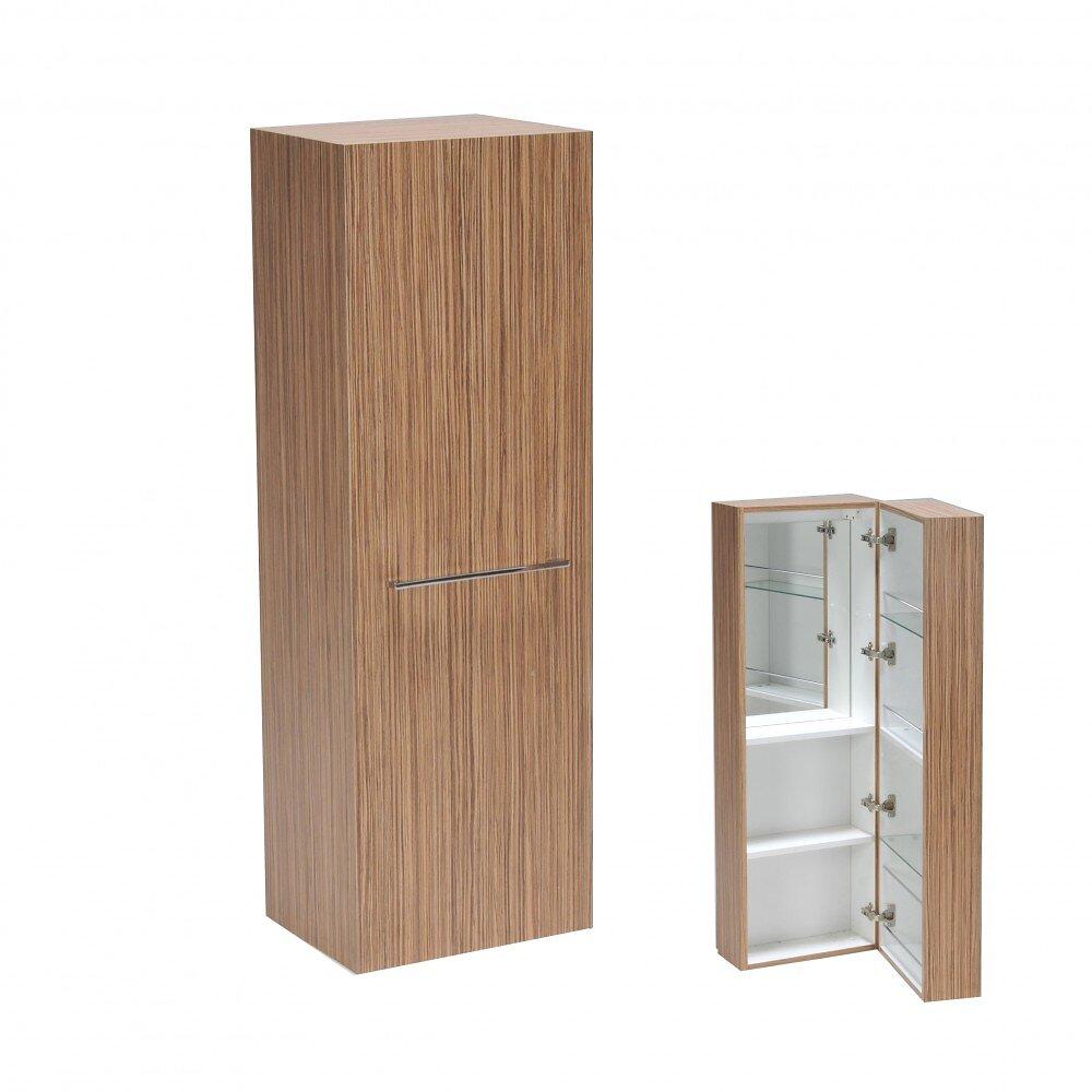 Armoire Murale Lounge 5 Tablettes + Miroir Intérieur / Zebrano