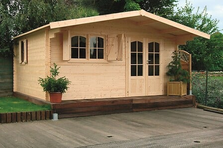 Abri de jardin en bois avec avancée 17,79 m² Chamonix