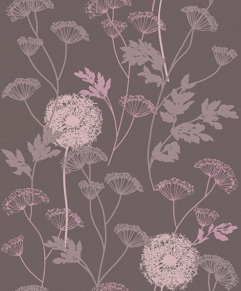 Papier peint expansé sur intissé floral graminée marron