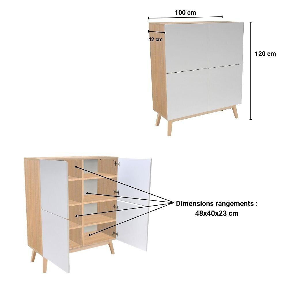 Meuble De Rangement Home 4 Portes / Blanc Et Chêne Blanchi