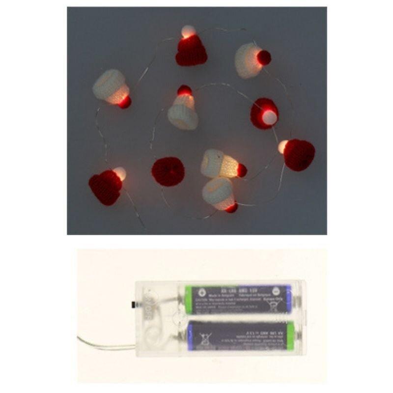 Guirlande Led À Piles Mini Bonnet De Noël 1m40 Ip20 10 Led - Rouge ; Blanc - Silamp