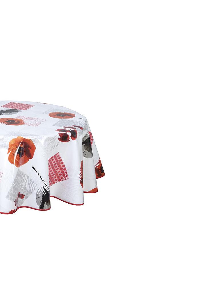 Nappe biais laquée ovale 150x220cm Papavero rouge
