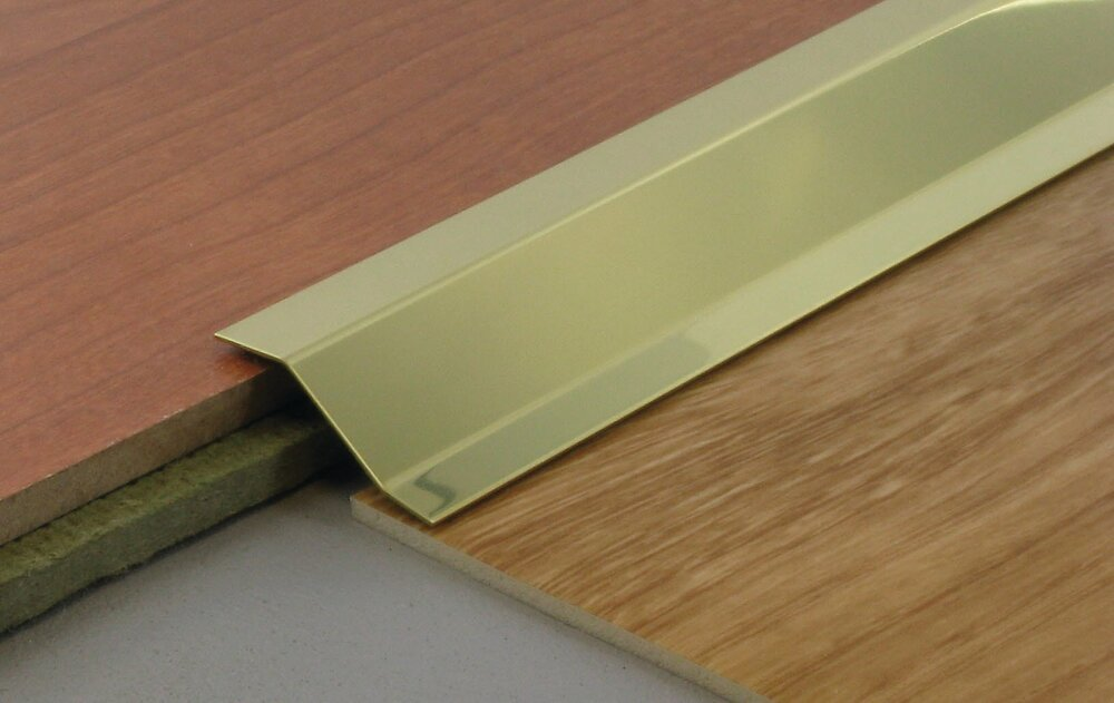 Barre de seuil adhésive différentiel de niveau aluminium/or 4x93cm