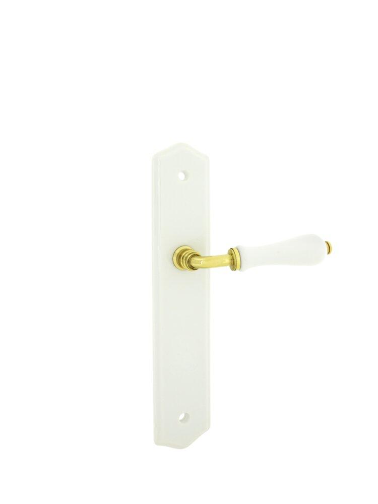 Poignée de porte 1/2 ensemble poire porcelaine blanc bec de cane