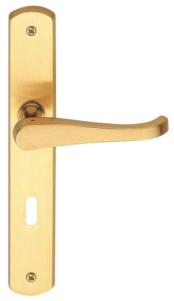 Poignée de porte Lucia laiton à clé entraxe 195mm