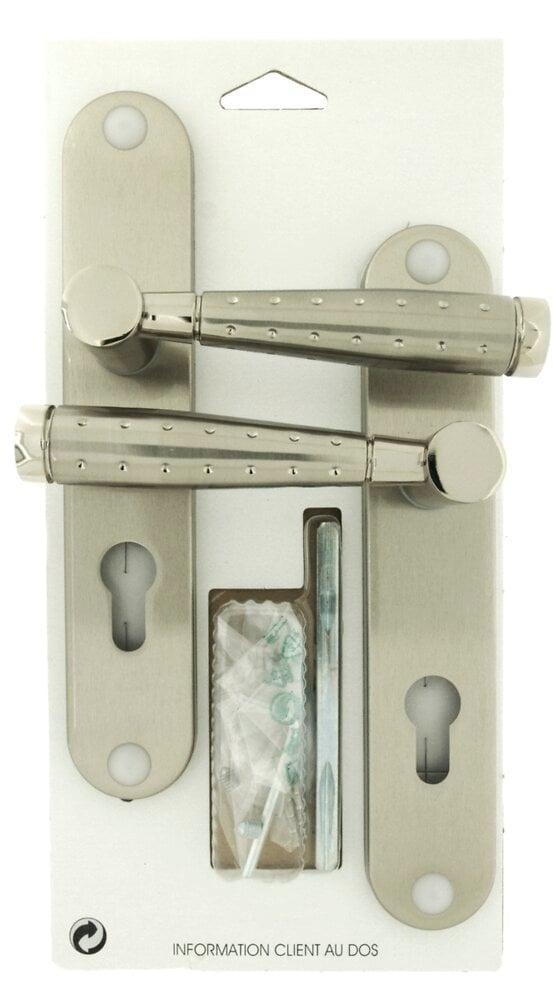 Garniture sur plaque Dylan aluminium nickel mat cylindre entraxe 195mm