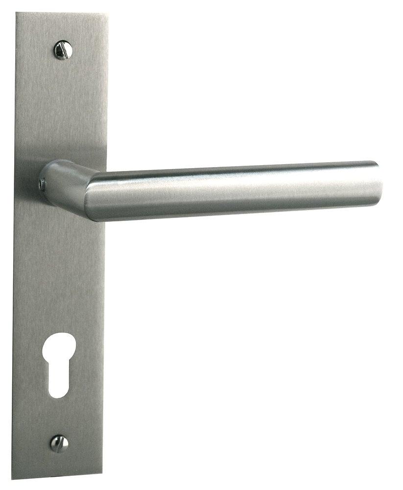 Poignée de porte Brunella métal nickel mat cylindre entraxe 165mm
