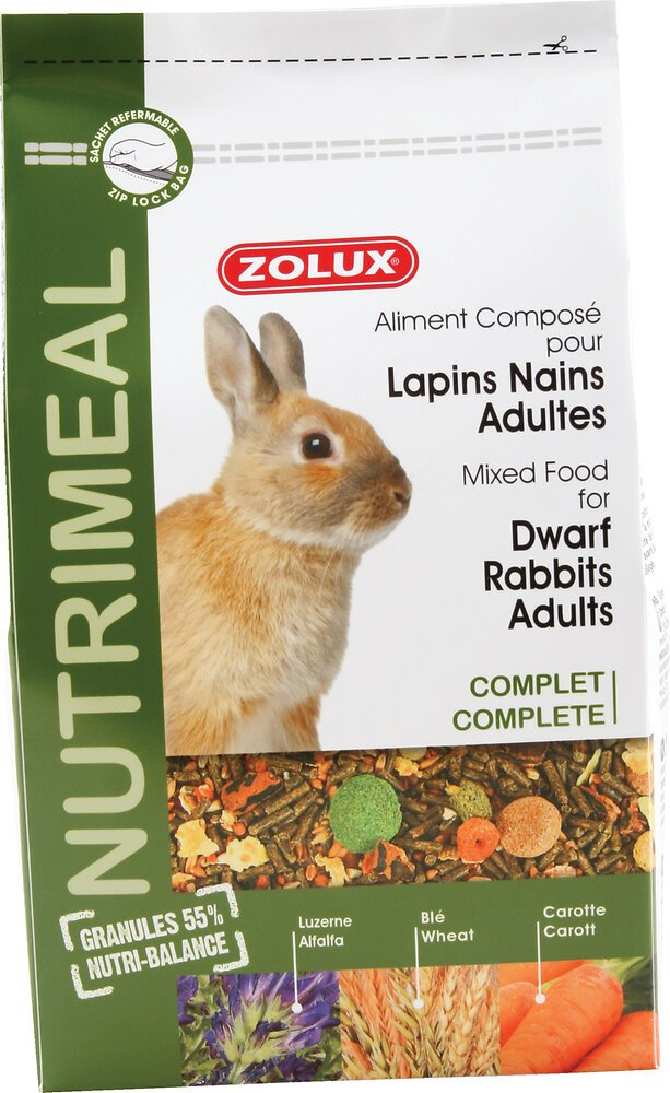 Aliments complets pour lapins nains adultes Nutrimeal 2.5kg