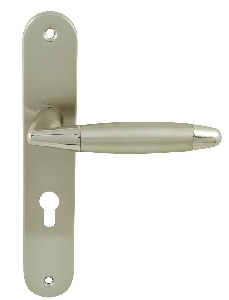 Poignée sur plaqué cylindre berault nickelé brillant entraxe 195mm