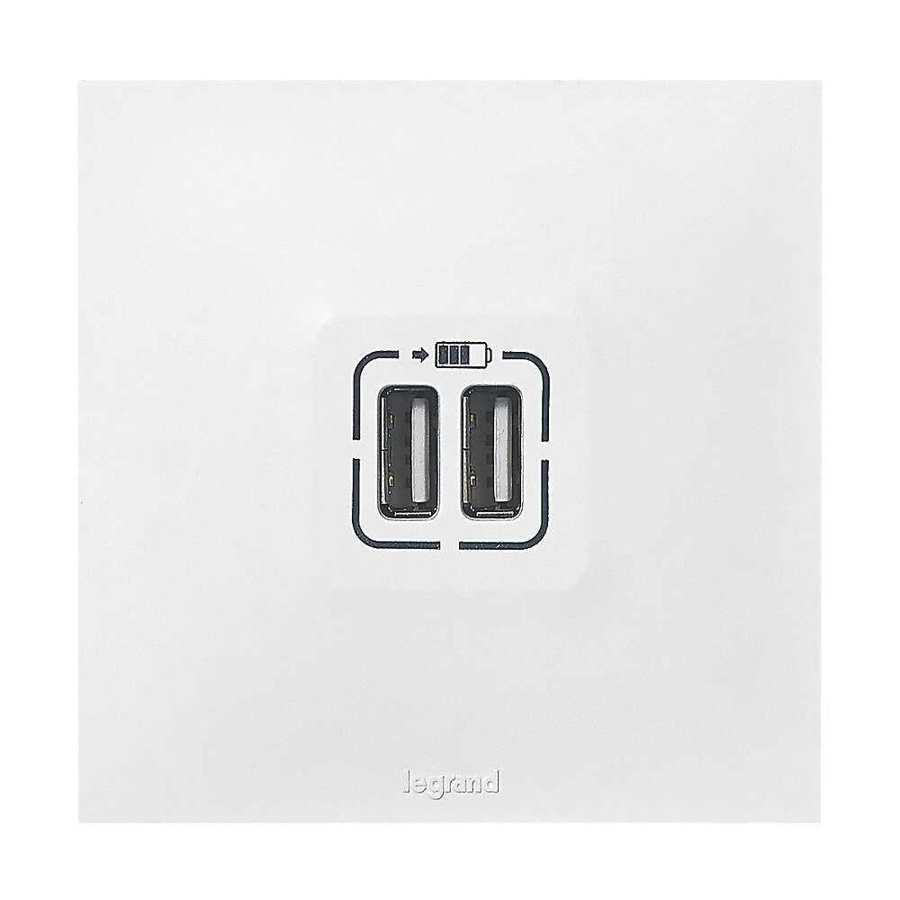 Double chargeur USB Type-A 2.4A 12W Neptune - blanc
