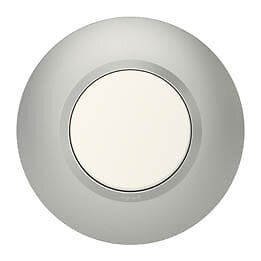 Plaque ronde dooxie 1 poste finition effet aluminium avec bague