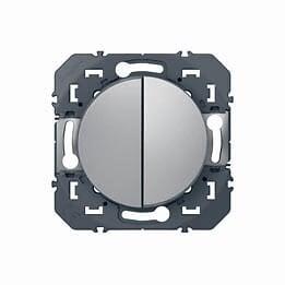 Double interrupteur dooxie 10AX 250V finition alu - sachet