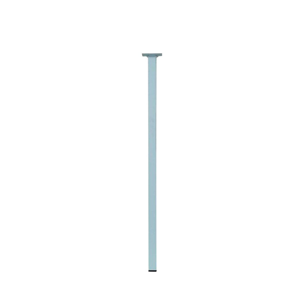 Pied de table carré acier blanc 2.5x2.5cm hauteur 70cm