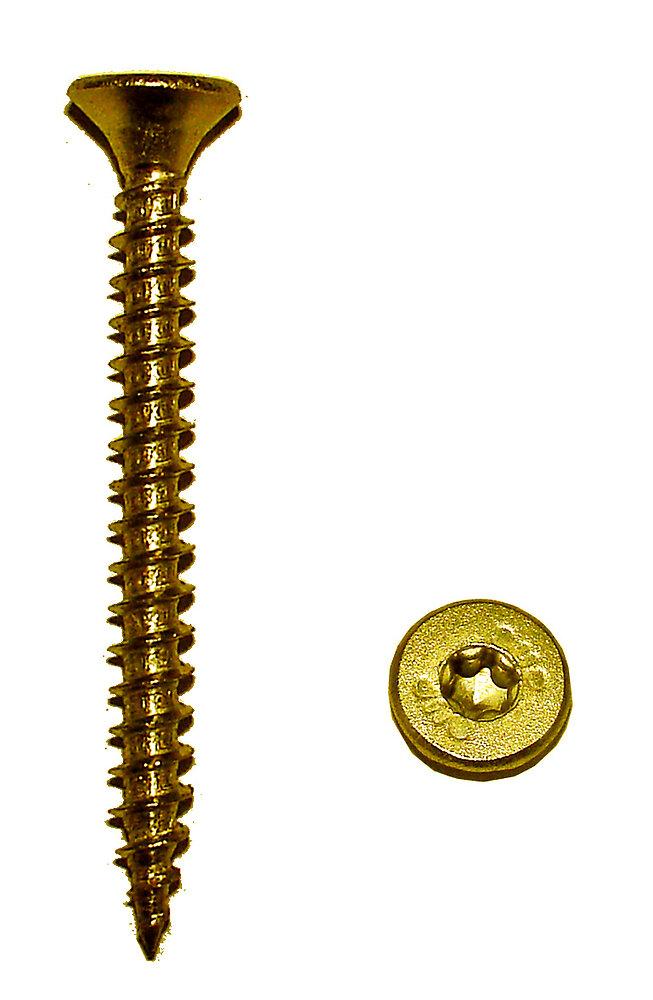 40 vis aggloméré acier tête fendue torx chrome 6x80mm