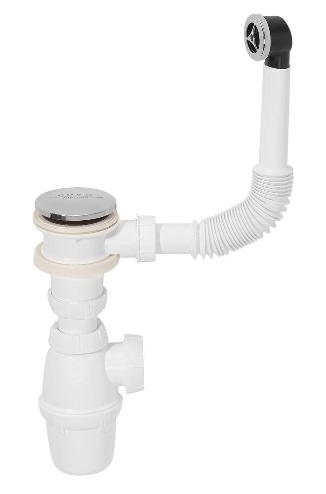 Bonde de lavabo Quick-Clac chromé + trop-plein + siphon ECOUL