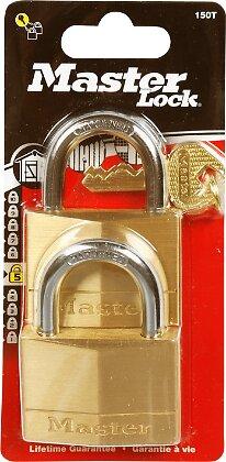 Lot de 2 cadenas à clé laiton massif 50mm anse d.7xh.25mm 5 goupilles