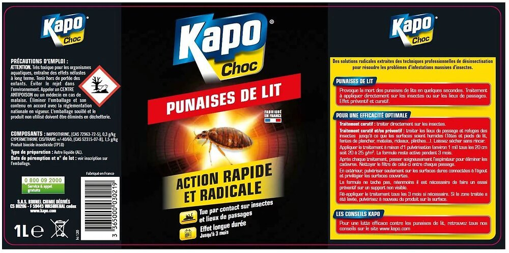Insecticide Punaises de lit Pulvérisateur 1l