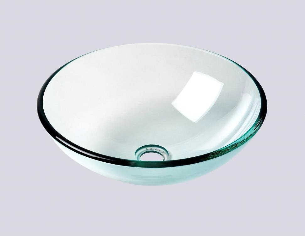 Vasque ronde en verre transparent 42cm